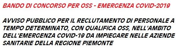 emergenza coronavirus BANDO OSS